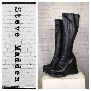 Steve Madden Gosip chunky wedge knee high boots